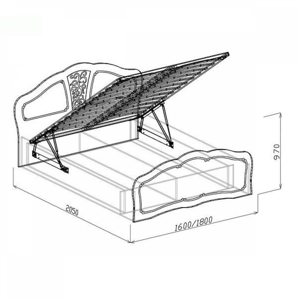 Кровать №2 1400 с подъемным механизмом ВЕРОНА (жемчуг глянец)