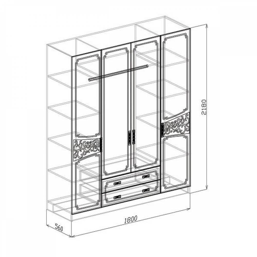 Шкаф 4-дверный ВЕРОНА (жемчуг глянец)