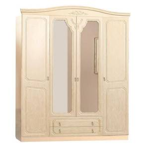 Шкаф 4-дверный ЛИРА (жемчуг глянец)
