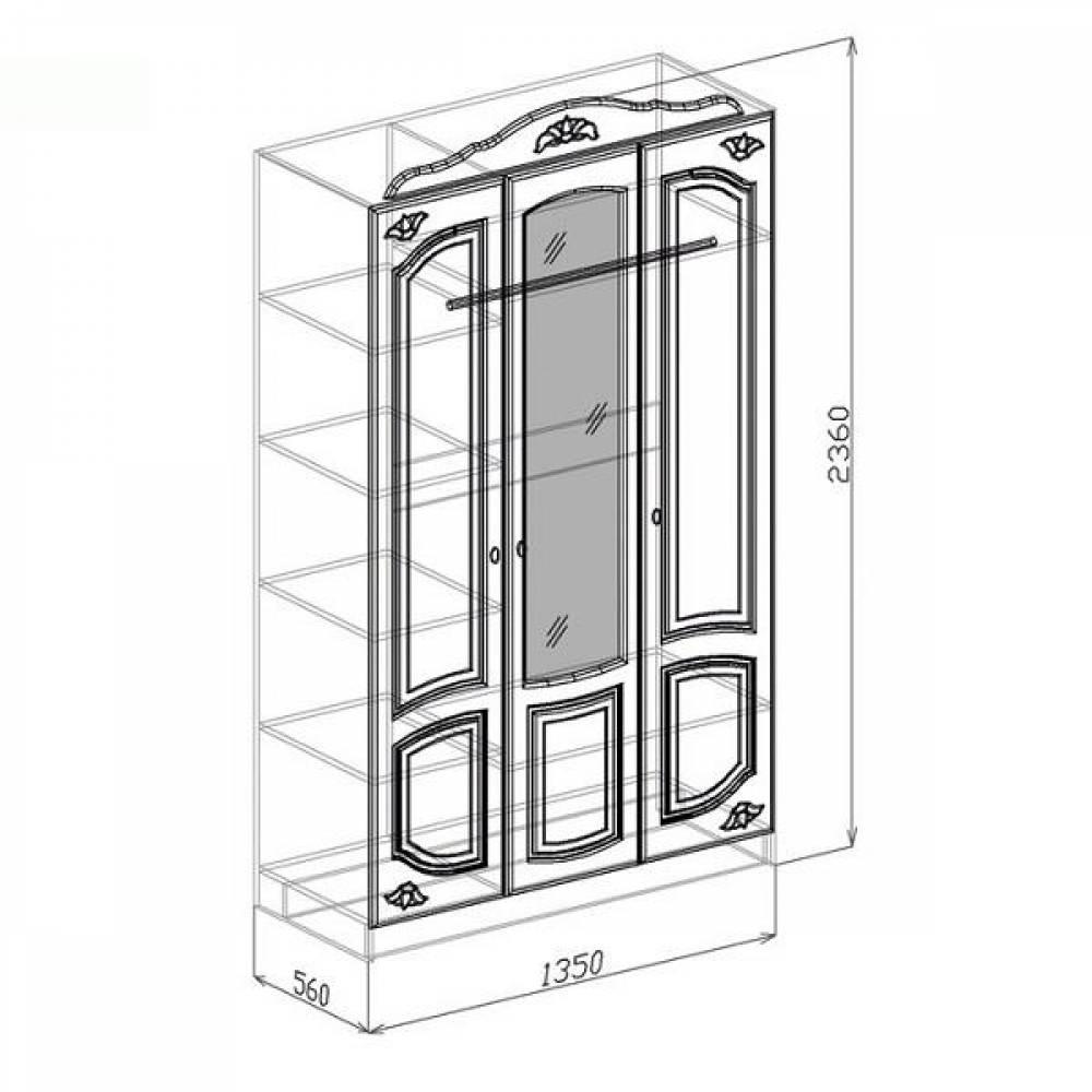 Шкаф 3-дверный КОРОНА (жемчуг глянец)