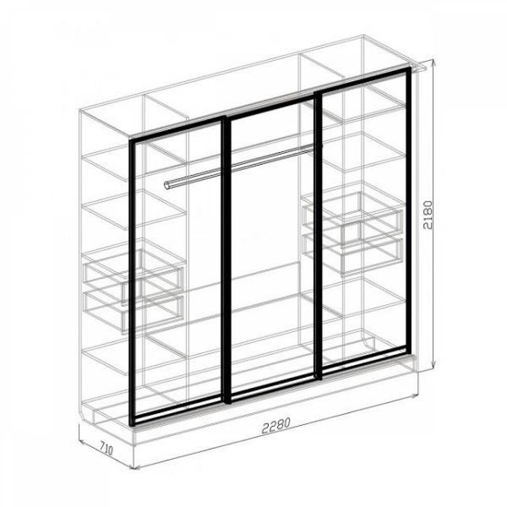 Шкаф-купе 3-дверный АТЛАНТИДА (белый глянец)