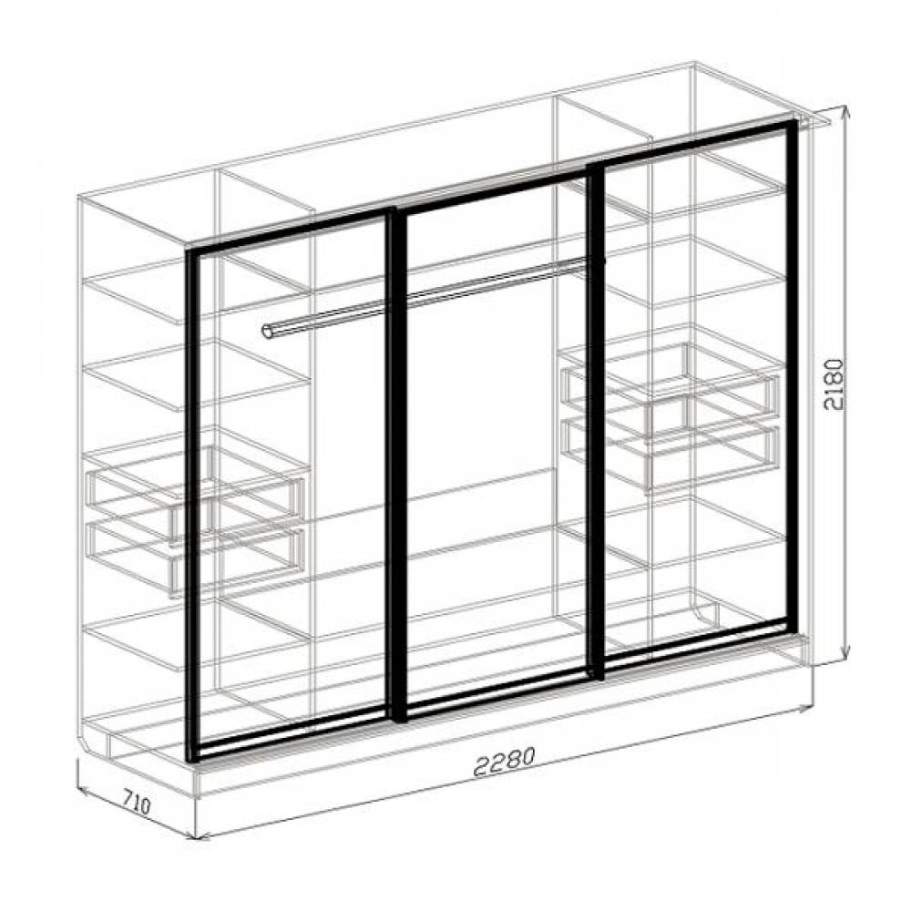 Шкаф-купе 3-дверный ПАЛЕРМО (венге дуглас)