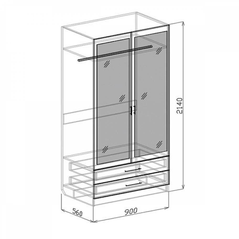 Шкаф 2-дверный с ящиками ПАЛЕРМО (белый дым)