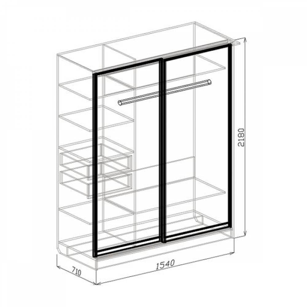 Шкаф-купе 2-дверный ПАЛЕРМО (белый дым)
