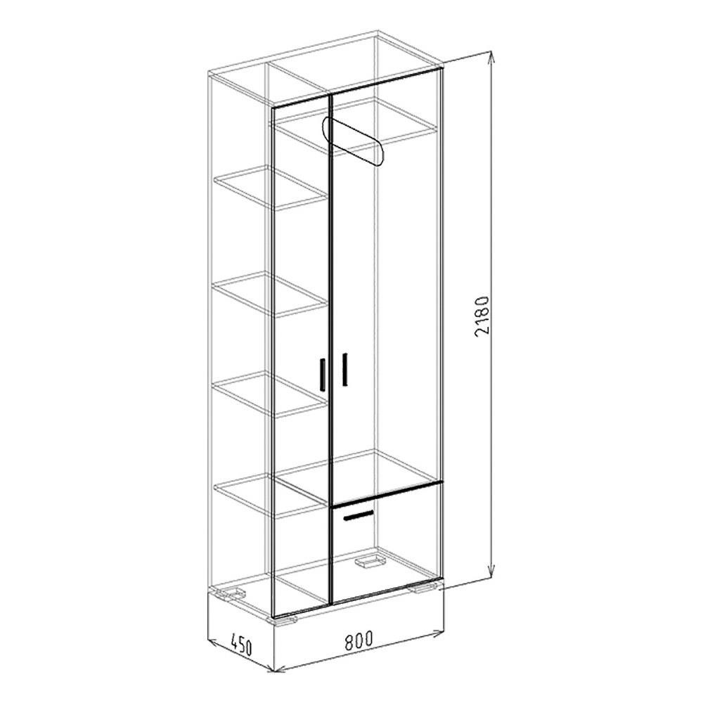 Шкаф 2-дверный  № 3 СТАТУС (Бодега)
