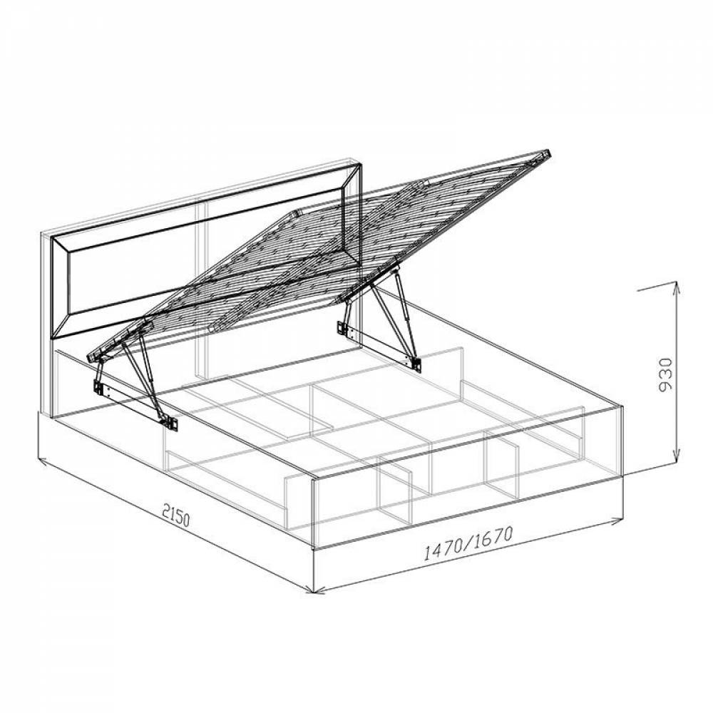 Кровать 1400 № 1 с основанием и подъемным механизмом КОРВЕТ ЛЮКС (Бодега)