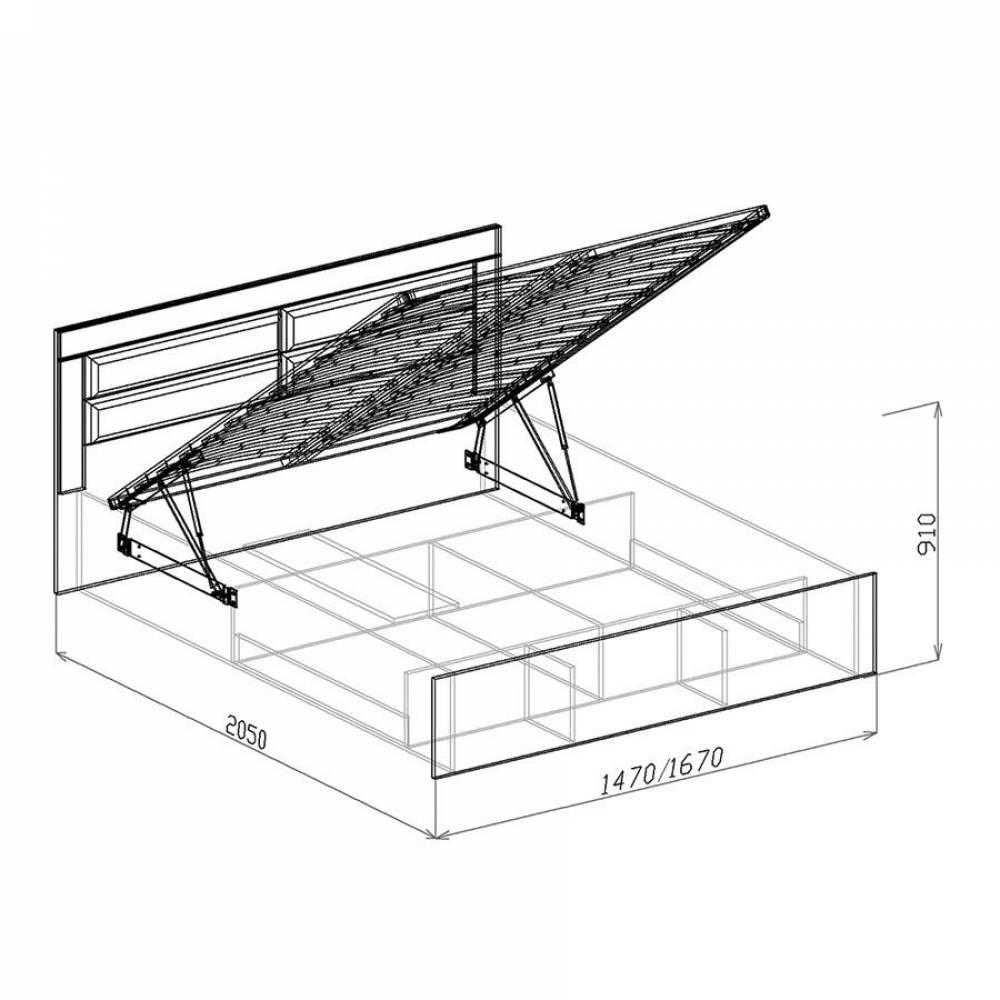 Кровать 1600 № 2 с основанием и подъемным механизмом КОРВЕТ ЛЮКС (Бодега)
