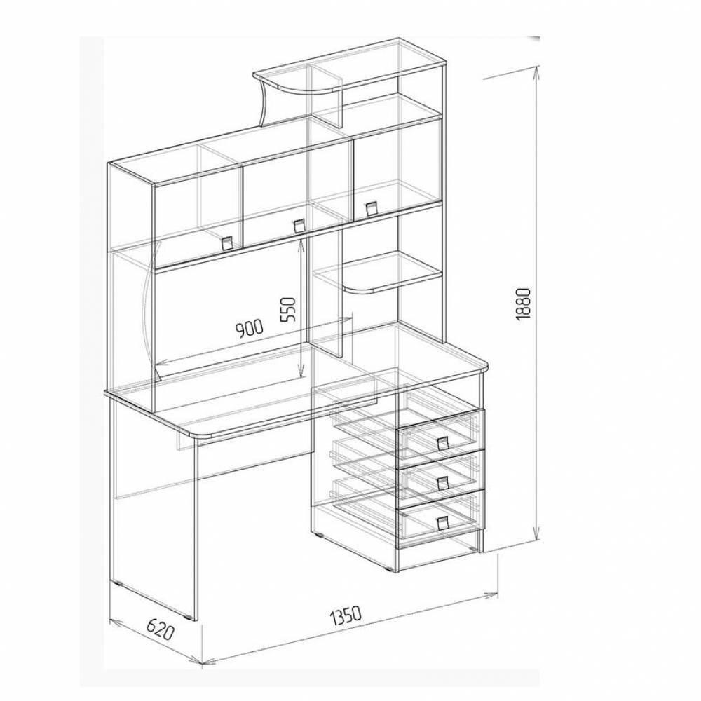 Компьютерный стол АЛЬФА 3 (ясень шимо темный) Союз-Мебель