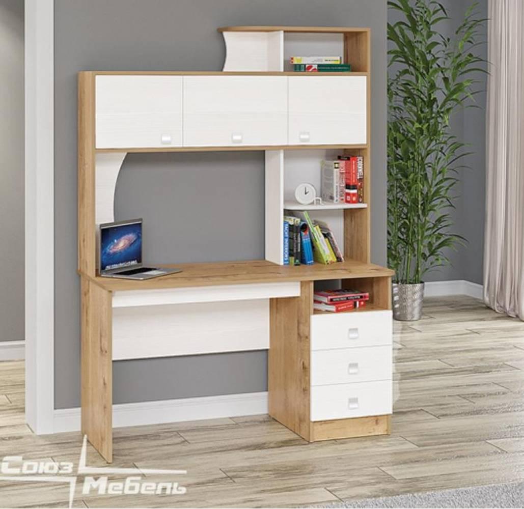 Компьютерный стол АЛЬФА 3 (дуб бунратти) Союз-Мебель