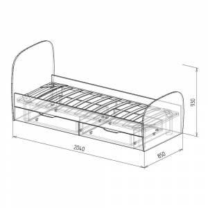 Кровать 800 № 12 с основанием КОСМОС (бетон чикаго)