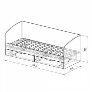 Кровать 800 № 13 с основанием КОСМОС (бетон чикаго)