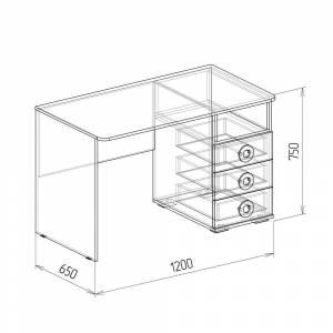 Стол компьютерный № 1 КОСМОС (бетон чикаго)
