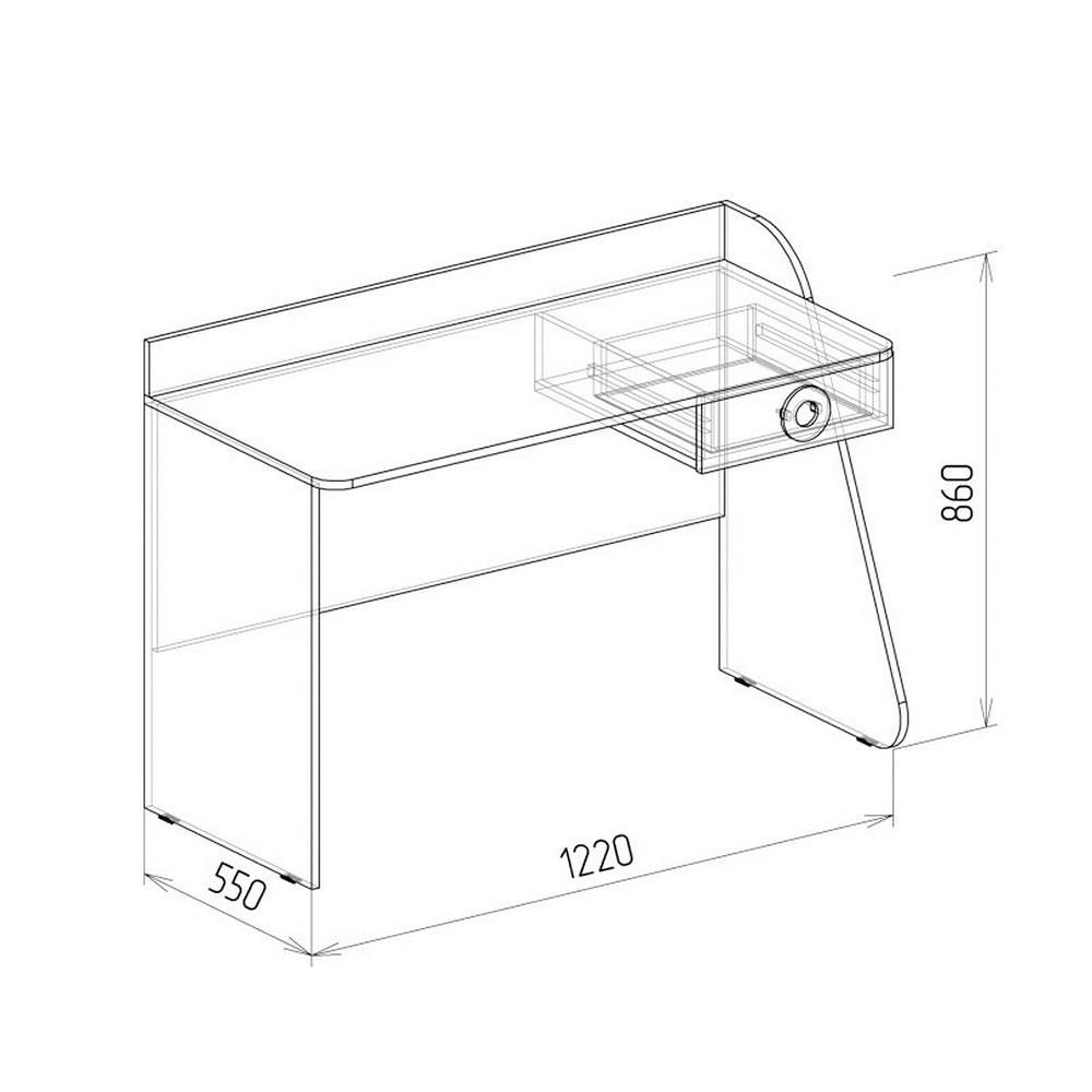 Стол компьютерный № 2 КОСМОС (бетон чикаго)