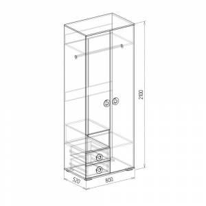 Шкаф 2-дверный № 4 КОСМОС (бетон чикаго)