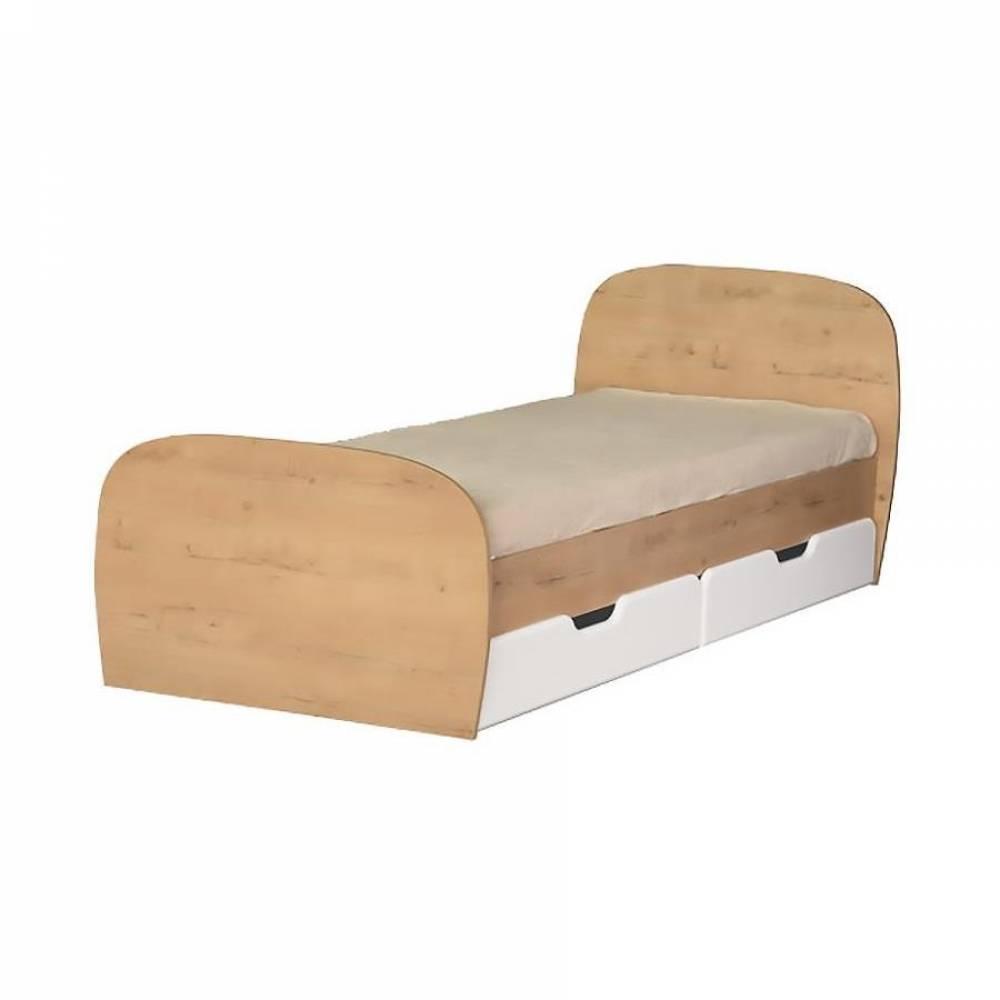 Кровать 800 № 13 с ящиками и основанием СКАЙ (белый глянец)
