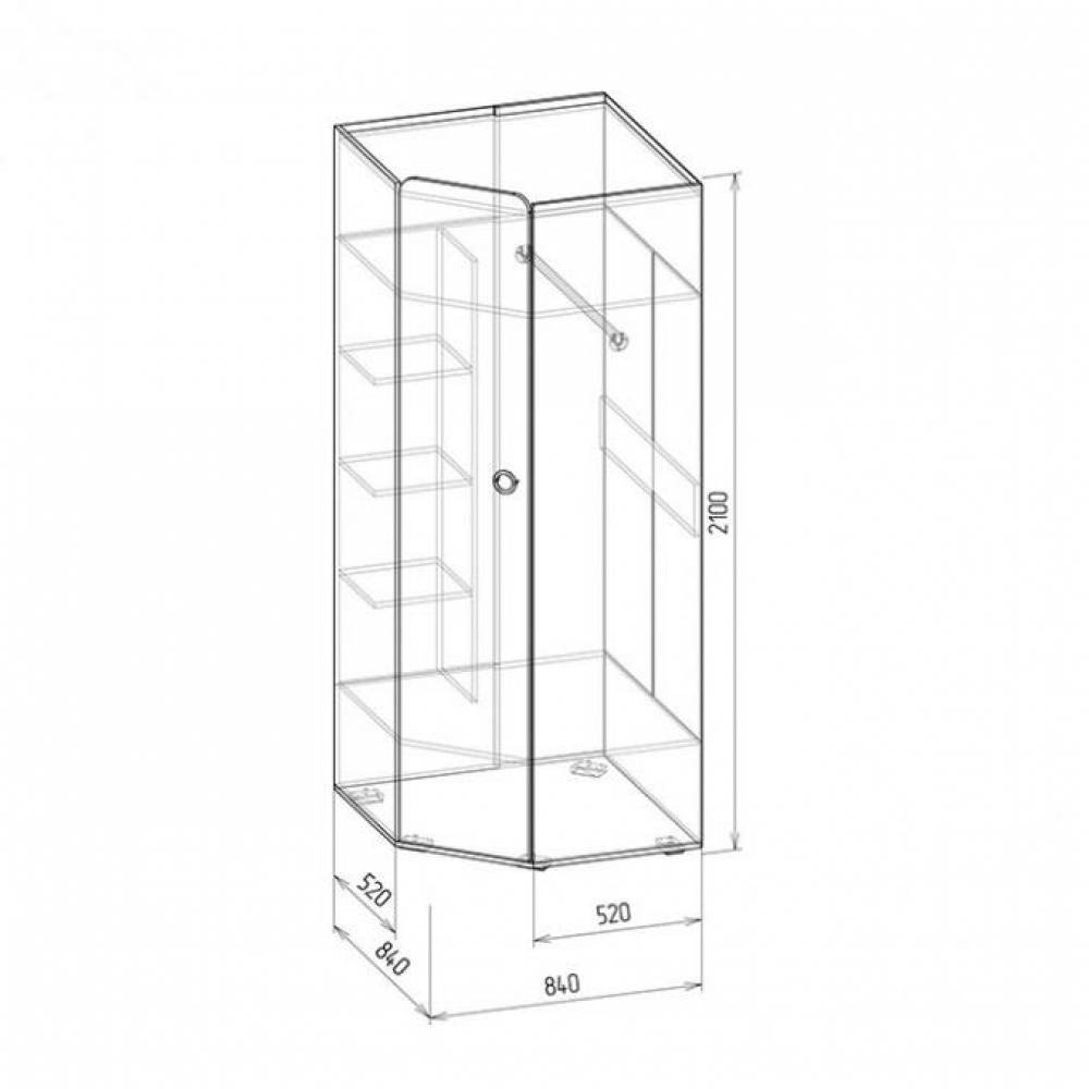 Шкаф угловой № 7 СКАЙ (белый глянец)