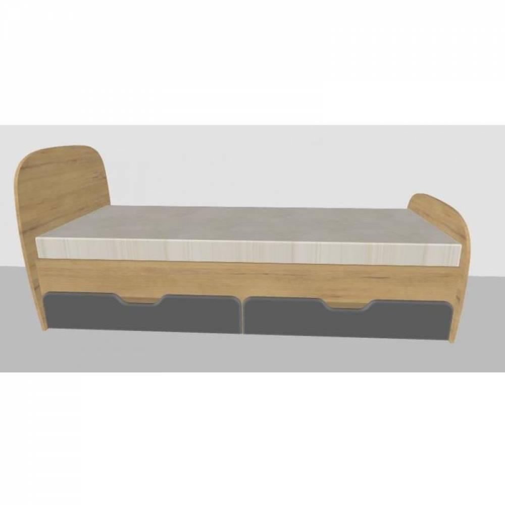 Кровать 800 № 13 с ящиками и основанием СКАЙ (графит)