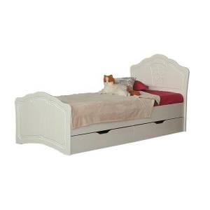 Кровать 800 №3 с ящиками и основанием ТИФФАНИ (рельеф пастель)
