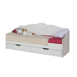 Кровать 800 №4 с ящиками и основанием ТИФФАНИ (рельеф пастель)
