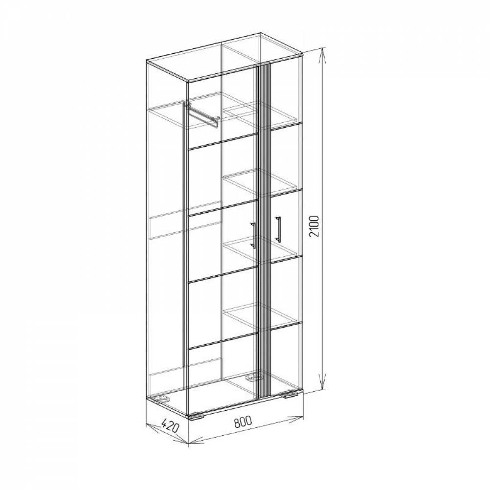 Шкаф № 1 ТВИСТ (белый глянец) Союз-Мебель