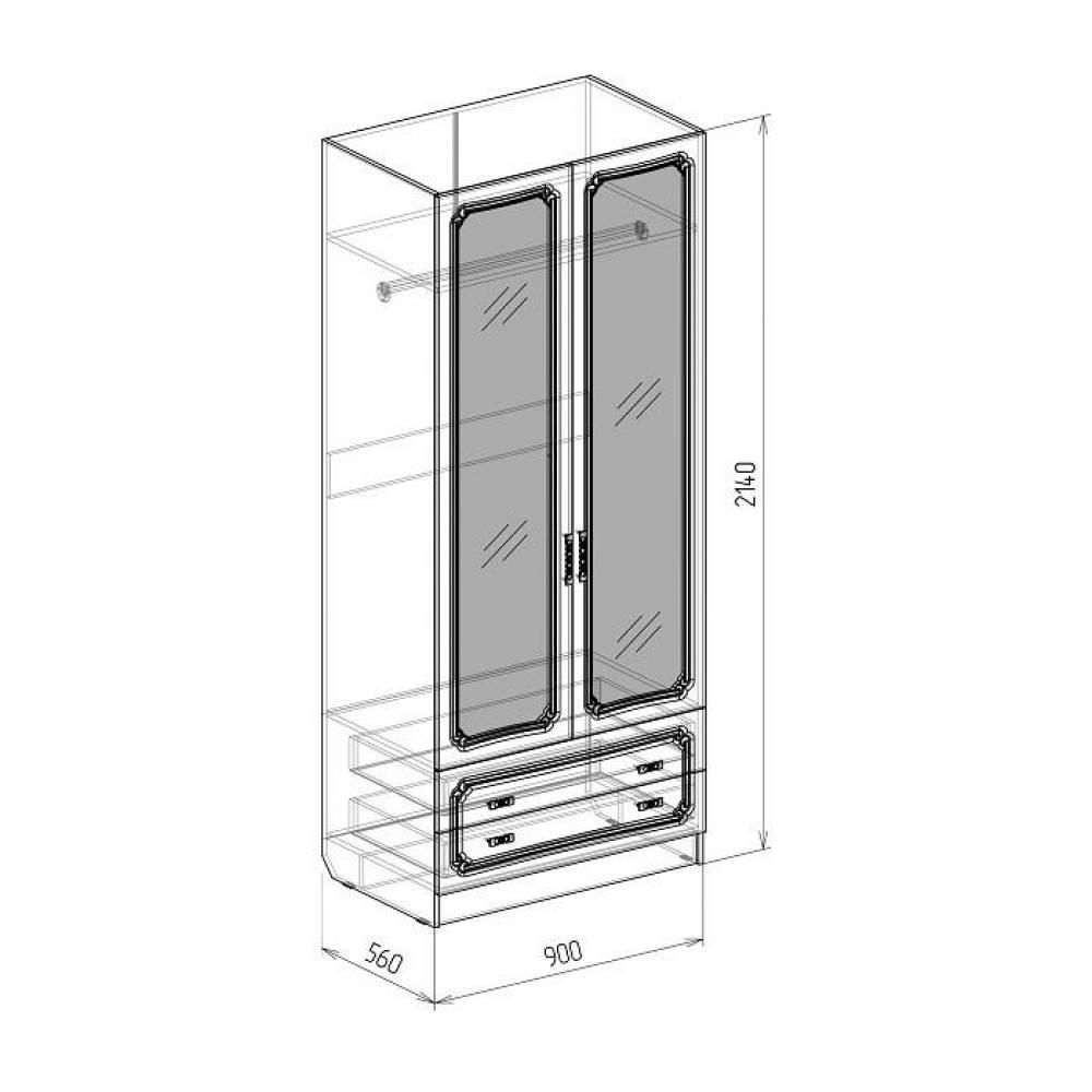 Шкаф 2-дверный с ящиками ТИФФАНИ (рельеф пастель)
