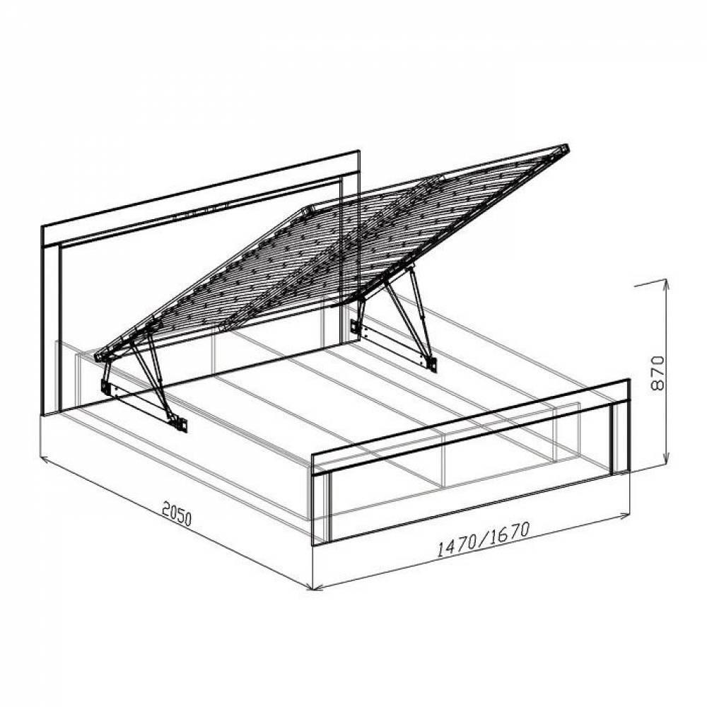 Кровать 1600 №1 с подъемным механизмом ТОКИО (бодега)