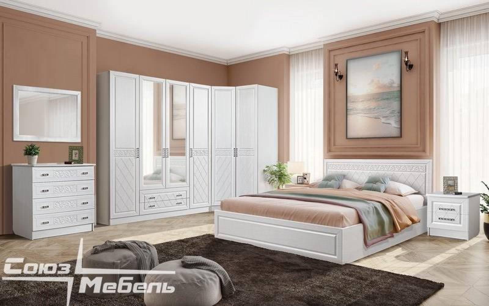 Спальня ФЛОРЕНЦИЯ (рельеф пастель) Союз-Мебель