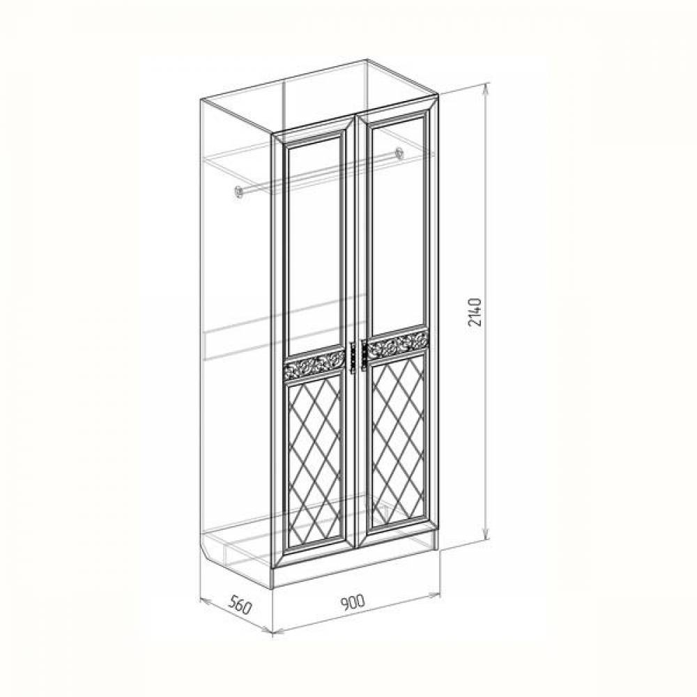 Шкаф 2-дверный 0,9 ФЛОРЕНЦИЯ (рельеф пастель)