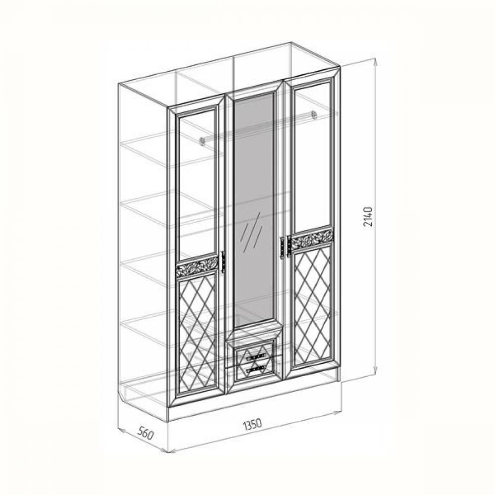 Шкаф 3-дверный ФЛОРЕНЦИЯ (рельеф пастель)