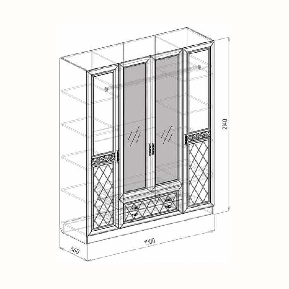 Шкаф 4-дверный ФЛОРЕНЦИЯ (рельеф пастель)